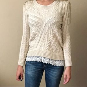 NWT Monteau Cream Sweater with lace bottom M